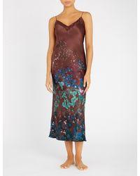 Meng - Brown Floral-print Silk-satin Slip Dress - Lyst