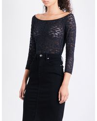 GOOD AMERICAN - Black Off-the-shoulder Lace-detail Body - Lyst