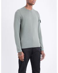 Stone Island - Gray Lightweight Wool-blend Knitted Jumper for Men - Lyst