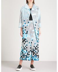 Issey Miyake - Blue Square-detail Graphic-print Woven Coat - Lyst