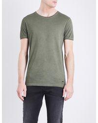BOSS Orange - Green Crewneck Cotton-jersey T-shirt for Men - Lyst