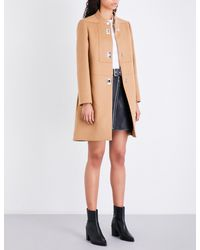 Maje | Brown Godiva High-neck Wool And Cashmere-blend Coat | Lyst