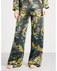Meng - Multicolor Floral-print Silk-satin Pyjama Trousers - Lyst