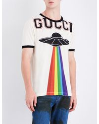 09acf2b7b Gucci Rainbow Ufo-print Cotton-jersey T-shirt in White for Men - Lyst