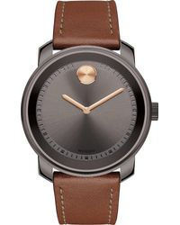 Movado - Black 3600378 Bold Gunmetal Grey Ion-plated Stainless Steel And Bull Hide Watch for Men - Lyst