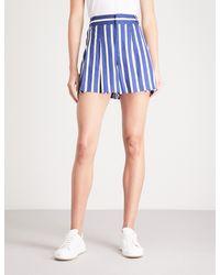 Alice + Olivia - Blue Scarlet Striped Linen-blend Shorts - Lyst