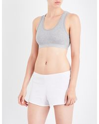 Sunspel - Gray Ladies Grey Melange Cropped Classic Racerback Stretch-cotton Top - Lyst