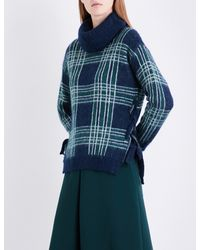 Claudie Pierlot - Blue Check-pattern Turtleneck Knitted Jumper - Lyst