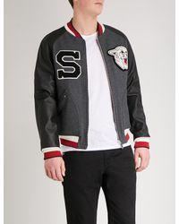 Sandro - Gray Cougar-appliqué Wool-blend Bomber Jacket for Men - Lyst