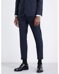 Sandro - Blue Slim-fit Brushed-wool Trousers for Men - Lyst