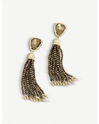 Kendra Scott - Brown Blossom 14ct Gold-plated And Pyrite Stone Earrings - Lyst