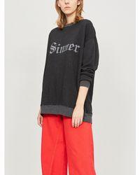 Wildfox - Black Sinner Slogan-print Cotton-jersey Sweatshirt - Lyst