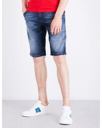 DIESEL - Blue Krooshort-ne Stretch Shorts for Men - Lyst