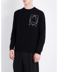 McQ Alexander McQueen - Black Icon Logo-print Wool And Cashmere-blend Jumper for Men - Lyst