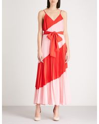 Alice + Olivia - Red Rozlyn Colour Block Pleated Dress - Lyst