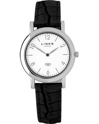 Links of London - Black Noble Slim Leather Strap Watch for Men - Lyst