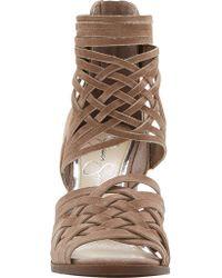 Jessica Simpson - Brown Reilynn Suede Leather Back Zip Block Heel Strappy Sandals - Lyst