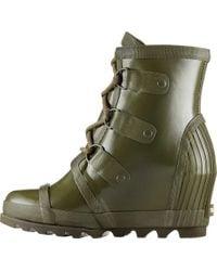 Sorel - Green Joan Rain Wedge Gloss Boot - Lyst