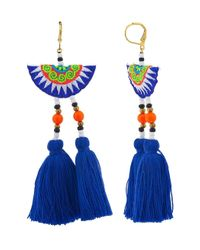 Shashi | Blue Multicolor Double Tassel Drop Earring | Lyst
