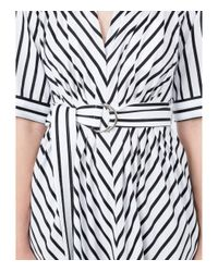 Adam Lippes - White/black Striped Asymmetrical Belted Dress - Lyst