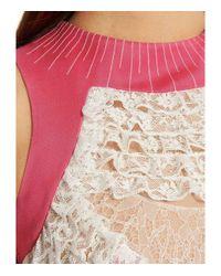 Valentino Pink Silk And Lace Mini Dress