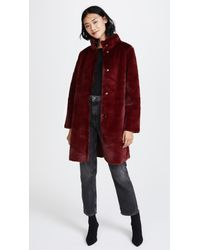 Velvet - Red Mina Reversible Faux Fur Coat - Lyst