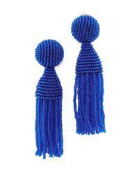 Oscar de la Renta | Blue Classic Short Tassel Clip On Earrings | Lyst