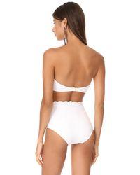Kate Spade - White Scalloped Bandeau Bikini Top - Lyst