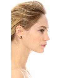 EF Collection - Black Diamond Stone Slice Stud Earrings - Lyst