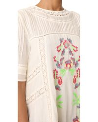 Free People - White Perfectly Victorian Embroidered Mini Dress - Lyst