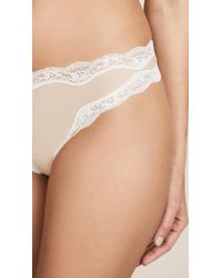 Calvin Klein - Natural Thong With Lace - Lyst