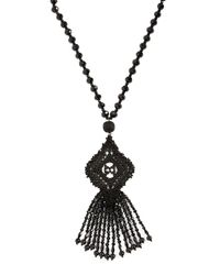 Kate Spade - Black Lace It Up Pendant Necklace - Lyst