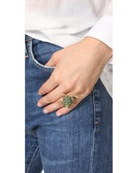 Oscar de la Renta - Green Crystal Frog Ring - Lyst
