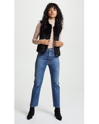 June - Black Fur Vest - Lyst