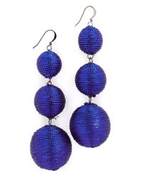 Kenneth Jay Lane - Blue 3 Tier Ball Drop Earring - Lyst