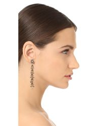 Miguel Ases - Metallic Linear Drop Earrings With Dangling Beads - Lyst