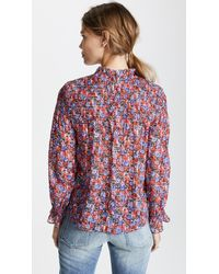 Rebecca Taylor - Red Long Sleeve Cosmic Flower Top - Lyst