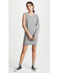 Lanston - Gray One Sleeve Mini Sweatshirt Dress - Lyst
