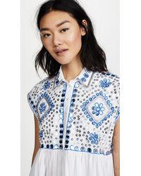 Juliet Dunn - Blue Embroidered Poncho Shirt Dress - Lyst