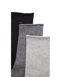 Calvin Klein | Gray Roll Top Sock Three Pack | Lyst