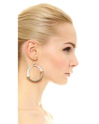 Alexis Bittar - Metallic Woven Raffia Hoop Earrings - Lyst