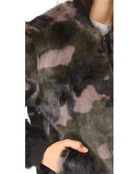 Pam & Gela - Multicolor Camo Printed Fur Bomber Jacket - Lyst