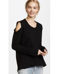 Wilt - Black Cutout Shoulder Tunic Tee - Lyst