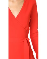 Diane von Furstenberg - Red V Neck Knit Wrap Dress - Lyst