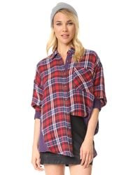 Free People | Red One Of The Guys Button Down | Lyst