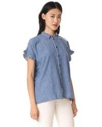 Madewell | Blue Indigo Ruffle Side Shirt | Lyst