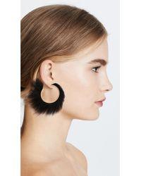 Ferragamo - Black Fur Hoop Earrings - Lyst