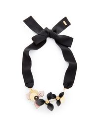 Marni - Black Necklace With 3 Leather Flowers - Lyst
