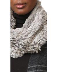 Adrienne Landau - Gray Knit Rabbit Fur Scarf - Lyst