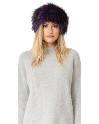 Adrienne Landau - Purple Fur Headband - Lyst